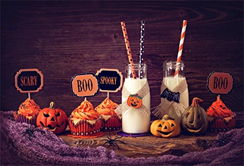 Laeacco 7x5ft Halloween Theme Backdrop Vinyl Halloween Party Dessert Table Purple Carpet Scene Photography Backgroud Milk Cupcakes Boo Spooky Scary Sign Pumpkin Lamps Child Kids Baby Shoot Poster -
