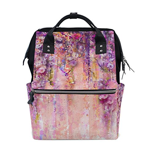 MAPOLO Pink Violet Watercolor Flowers Painting Wisteria Tree Diaper Backpack Large Capacity Baby Bag Multi-Function Nappy Bags Travel Mom Backpack for Baby Care