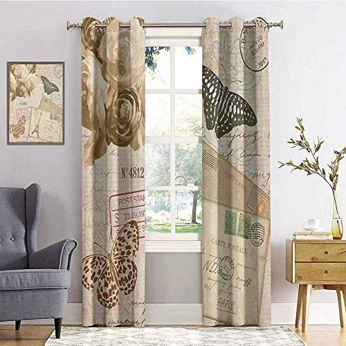 hengshu European Blackout Curtains - Gasket Insulation Old Vintage Retro Style Lettering with Flowers Butterflies Print Blackout Curtains for The Living Room W84 x L72 Inch Cream Black and Pale Brown
