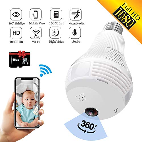 Sale!! SARCCH Light Bulb Camera,Dome Surveillance Camera 1080P 2.4GHz WiFi 360 Degree Wireless Secur...