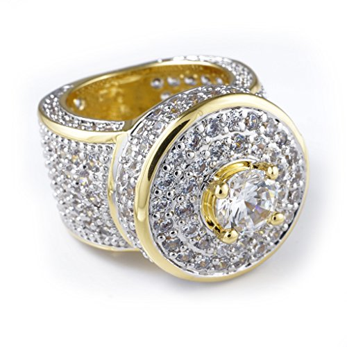 18k Gold Cluster CZ Iced Out Pinky Ring for Men - Hip Hop Fashion Band by Niv's Bling,Size 7