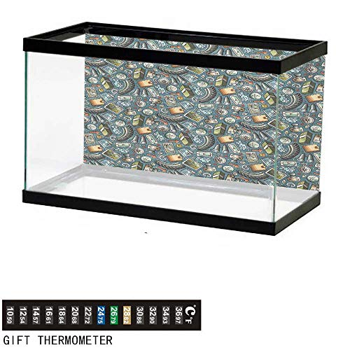 Aquarium Background,Explore,Cartoon Traveling Pattern with Coins Credit Cards Compass and Roads Doodle Design,Multicolor Fish Tank Backdrop 48