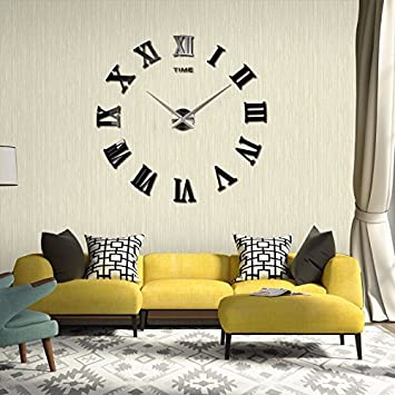 espejo reloj pared Moderno DIY Reloj De Pared 3D Romano Números Decoración Extraíble (Negro): Amazon.es: Hogar