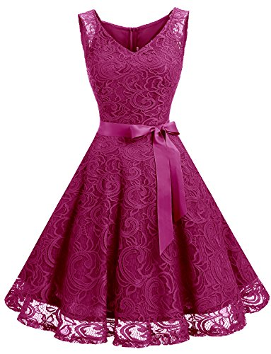 Dressystar Women Floral Lace Bridesmaid Party Dress Short Prom Dress V Neck XXXL Rose