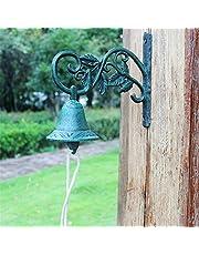 BGROESTWB Ijzeren Gietijzeren Deurbel Rustieke Creatieve Retro Groen Blad Gietijzeren Deurbel Welkom Hand Bell Art Decoratie