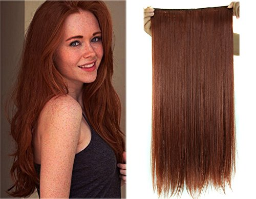 K'ryssma Copper Red #350 Long Straight Synthetic Hair Extensions Hair Flip in 5 Clips 24inches - Extensions Hair Wonder