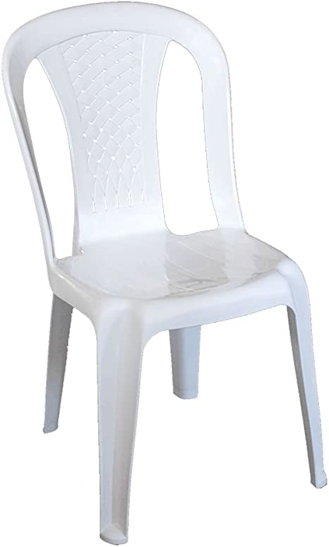 Silla resina de color blanco, 100% resistente ideal exterior jardín bar TALIA-B: Amazon.es: Hogar