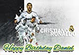 Real Madrid Cristiano Ronaldo CR7 Personalized Cake Toppers Icing Sugar Paper A4 Sheet Edible Frosting Photo Birthday Cake Topper 1/4 ~ Best Quality Edible Cake Image!