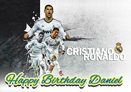 Real Madrid Cristiano Ronaldo CR7 Personalized Cake Toppers Icing Sugar Paper A4 Sheet Edible Frosting Photo Birthday Cake Topper 1/4 ~ Best Quality Edible Cake Image! by EdibleInkArt