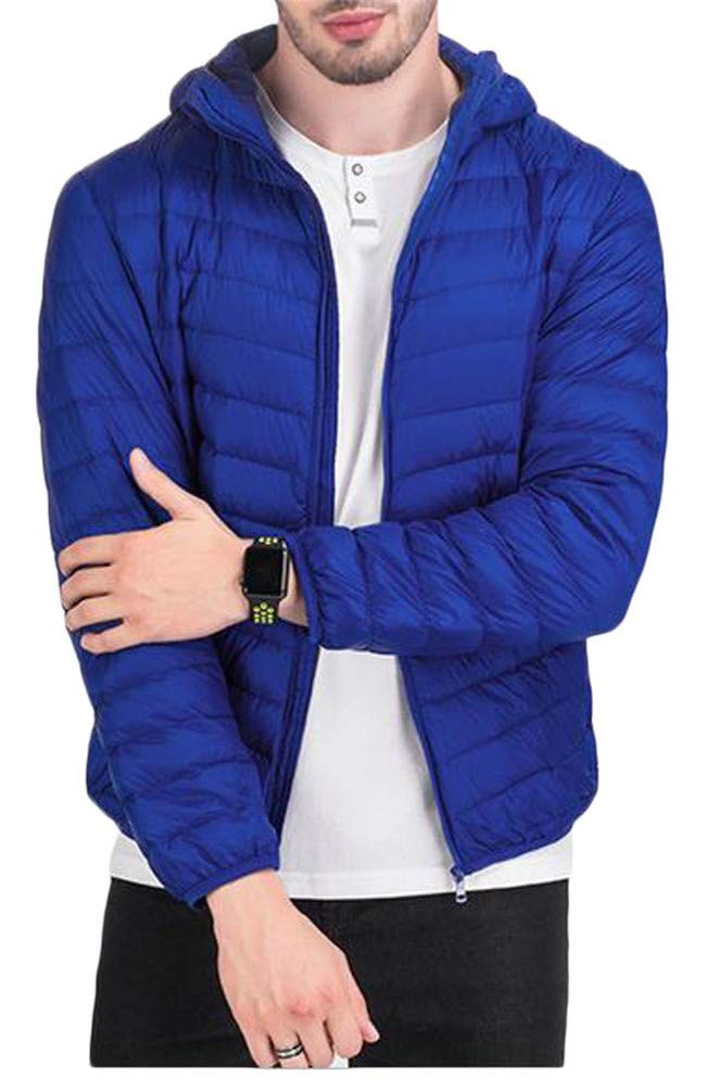 Pivaconis Men Quilted Lightweight Zip Hoodid Winter Short Down Outerwear Coats Jacket Jewelry Blue XS