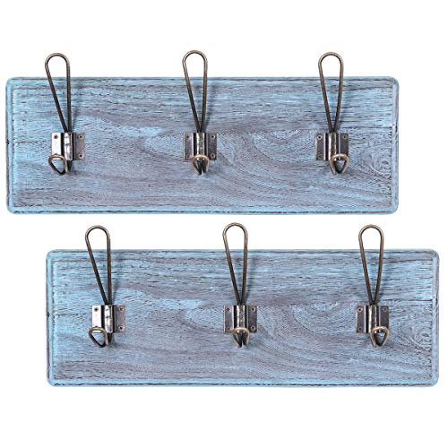 """Rustic Wall Mounted Coat Racks with 3 Sturdy Hooks – Set of 2 – Vintage Entryway Wooden Coat Racks – Rustic Rack for Coats, Bags, Towels and More – 35"""" x 6.10""""– Torched Wood – Rustic Blue For Sale"""