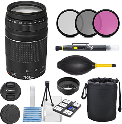 Canon EF 75-300mm f/4-5.6 III Telephoto Zoom Lens Bundle for Canon DSLR Cameras – International Version