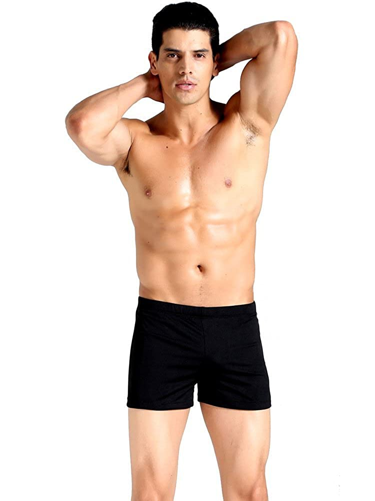 ec5e6b8aefe DOIOWN Men s Polyester Spandex Solid Sport Square Leg Swimsuit Trunks  Briefs