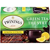 Twinings of London Green Tea and Lemon Tea Bags, 20 Count (Pack of 6)