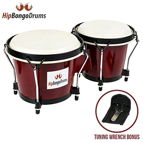 Hip Bongo Drums | Beautiful Tunable Bongo Drums Set with Natural Hides and Shells | Durable Weatherproof Safe Nickel Wood Metal Hide Materials for Music Lovers Enthusiasts | Cherry | 266.3 (Brake Drum Cast)