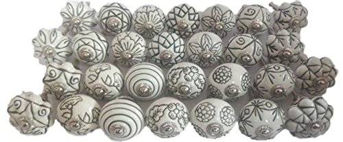Hand Carved Ceramic - Vintage Look 10 Ceramic Knobs Artncraft Hand Carved Ceramic Knobs Handmade Ceramic Door Knobs Kitchen Cabinet Drawer Pulls Kid's Bedroom Knobs by Artncraft (White)