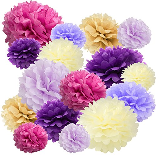 Floral Reef Variety Set of 16 (Assorted Purple Lavender Cranberry Cream Color Pack) consisting of 8'' 10'' 14'' Tissue Paper Pom Poms Flower by Floral Reef