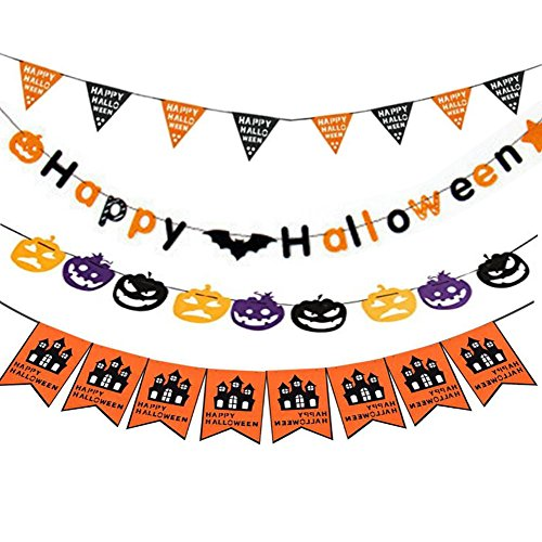 Halloween String Banner Non-woven Fabric Flag Props ,Happy Halloween Hanging Scary Decorations Signs for Party Home School Pub (4 Pack)