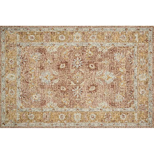 Julian 3'6'' x 5'6'' Hand Hooked Wool Rug in Terracotta and Gold Area Rug Dining Room Home Bedroom Carpet Floor Mat