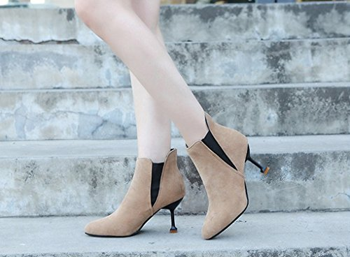 XZ Autumn and Winter Korean Version Sexy Slim High Heel Short Boots Pointed Martin Boots Elastic Band Bare Boots Beige xFNFTp