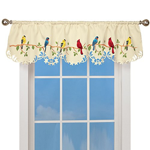- Collections Etc Spring Valance Curtain with Beautiful Birds on a Branch Décor & Rod Pocket Top, 15