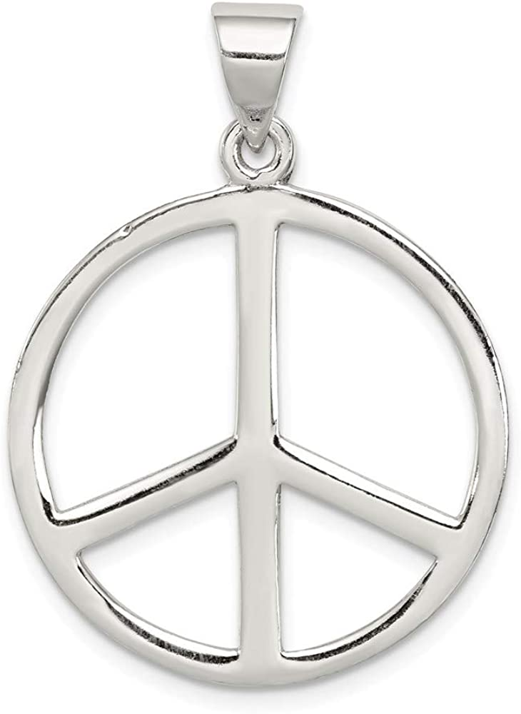 33mm x 24mm Solid 925 Sterling Silver Peace Symbol Pendant Charm