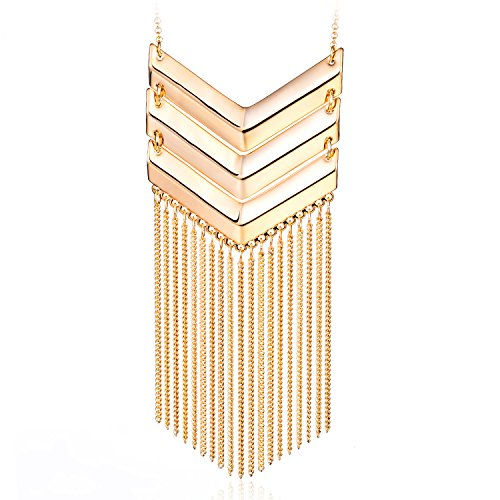 HUIMEI Chevron Three V Shaped Long Chain Pendant Necklace with Tassel