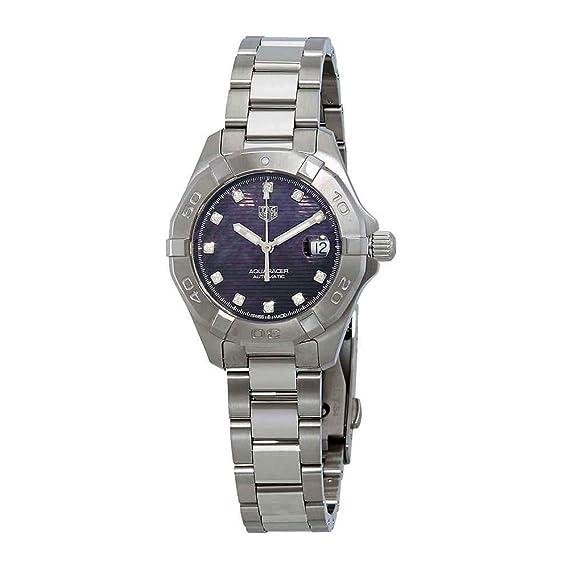 Tag Heuer WBD2312.BA0740 - Reloj de Pulsera automático con Esfera de Diamante de nácar para Mujer, Color Negro: Amazon.es: Relojes