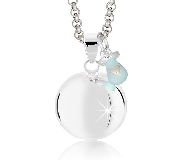 Mamijux CHA010 - Llamador de ángeles con chupete celeste con cadena de acero - 110cm