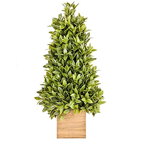 Jusdreen 20 Inch Spring Artificial Flower Potted Plants Bonsai Tree Ornaments for Bathroom/Home Decor Table Window Decorations Fake Plant Wooden ()