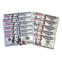 GoodOffer 50 pcs $20 & 50 pcs $100 Dollars Play Money - Realistic Prop Money - Total of $6,000 Copy Money with Two Sides for Pranks, Games, Monopoly - Educational Play Money for Kids - Prop Bills