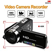FLOUREON 1080P Full HD Portable Camcorder Digital Video Camera DV 2.7 TFT LCD Screen 16x Zoom 270 Degrees Rotation for Sport /Youtube/Short Films Video Recording (1080P DV Camcorder, BLACK)