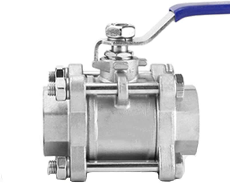 1 Inch 1.2 Inches 6 Points 2 Inches) Maniny 304 Stainless Steel Three-Piece Full Port Female Ball Valve 1 (3 Points