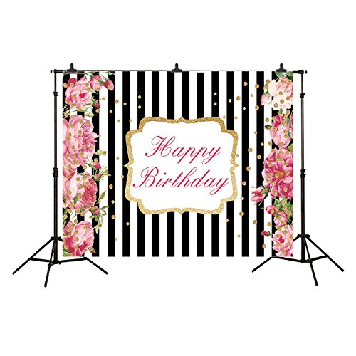 Allenjoy 7x5ft Photography Backdrop Black and White Stripes Golden Dots Rose Princess Party Banner Decoration Birthday Background for Photo Studio Shooting