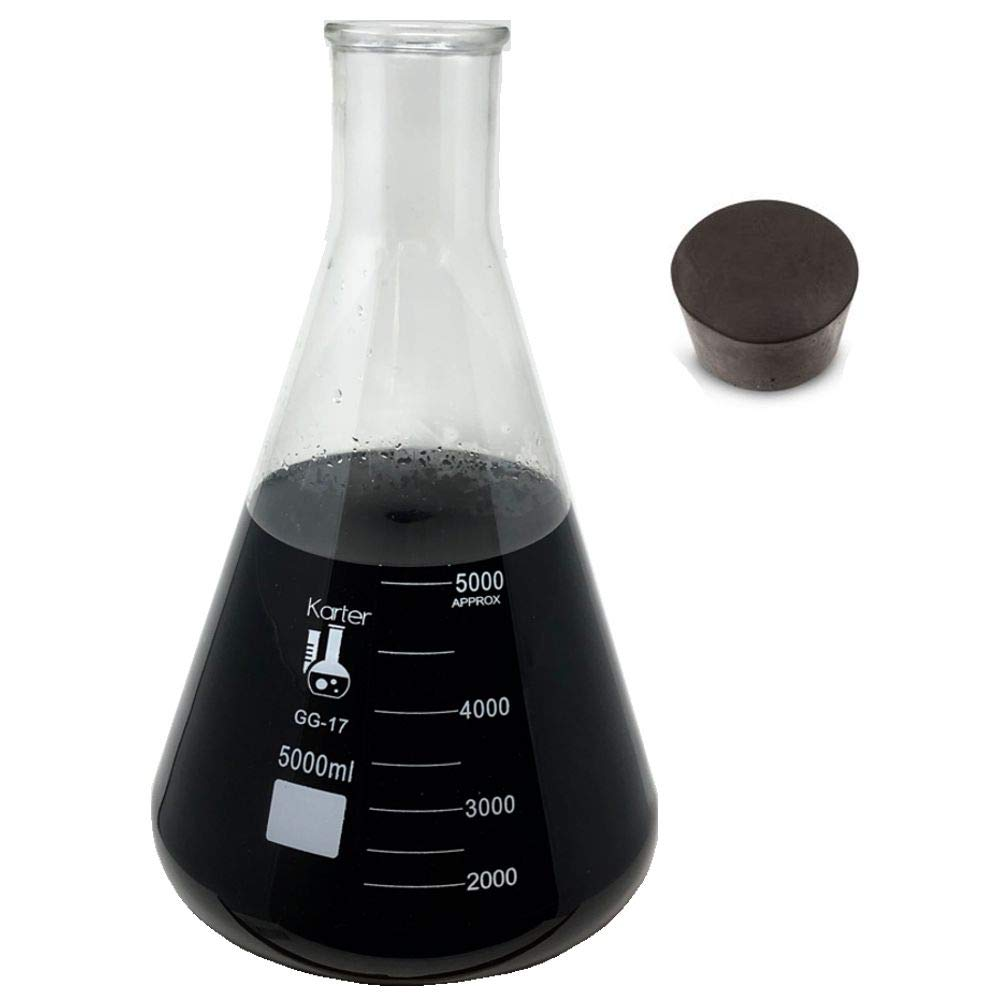 Single Metric Scale Single Karter Scientific 3.3 Borosilicate Glass 5000ml Narrow Mouth Erlenmeyer Flask with Rubber Stopper
