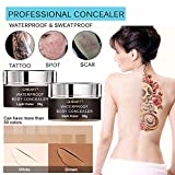 Body Concealer, Tattoo Concealer Waterproof Cover Up for Blemish, Birthmarks, Vitiligo, Scar, Professional Camouflage Makeup Cream, Set of 30ml2, Including Brush and Bottle for Mixing
