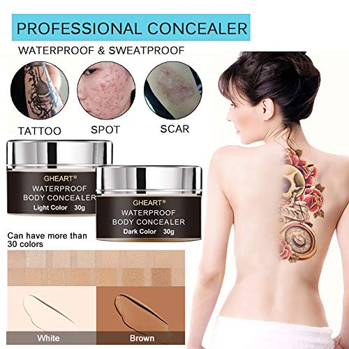 Body Concealer, Tattoo Concealer Waterproof Cover Up for Blemish, Birthmarks, Vitiligo, Scar, Professional Camouflage Makeup Cream, Set of 30ml2, Including Brush and Bottle for Mixing (Best Body Makeup For Scars)
