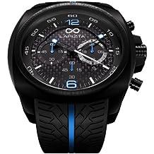 LAPIZTA Addax Men's 48mm Chronograph Racing Watch - Carbon Fiber Dial w/Blue Accents L20.1004