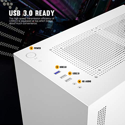darkFlash Micro ATX Mini ITX Tower MicroATX Computer Case with Magnetic Design Wide Open Door Opening Swing Type Tempered Glass Side Panel DLM22 White