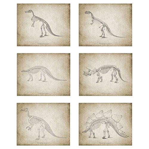 Dinosaur Art Prints - Set of Six (6) Prints - Size 8x10 - Unframed Prints - Matte Finish - Great Gift for any Kid!