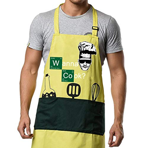 (Kitchen Aprons Chef Cooking Baking - Famgem Professional Bib for Men, Women, Grill, BBQ, Outdoor, Camping, Home / 100% Cotton, 3 Large Pockets, Adjustable)