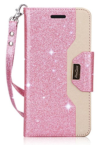 ProCase Galaxy S9 Plus Wallet Case, Flip Kickstand Case with Card Holders Mirror Wristlet, Folding Stand Protective Book Case Cover for Samsung Galaxy S9+ (2018 Release) -Glitter Pink