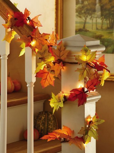 fall leaves lighted harvest floral garland decoration by collections etc - Harvest Decorations
