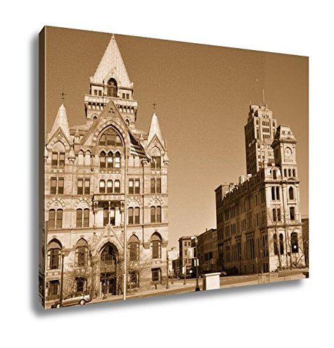 Ashley Canvas Syracuse Savings Bank Building Left And Gridley Building Right At Clinton, Kitchen Bedroom Living Room Art, Sepia 24x30, AG6086035 (New America York Bank Of Syracuse)
