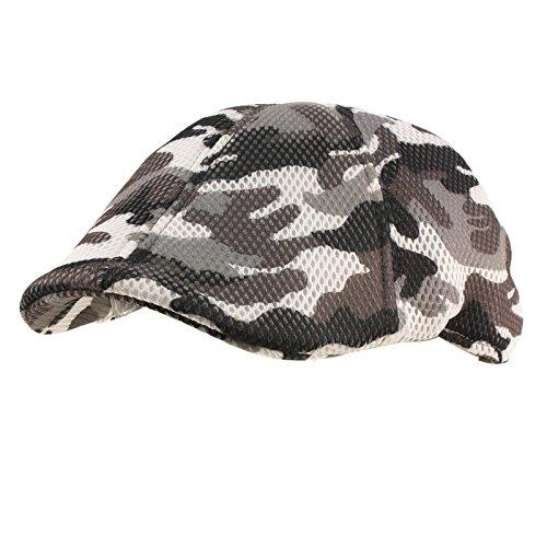 Camo Driver Hat (Mens Summer Mesh Camo Duckbill Flat Golf Ivy Driver Cabbie Sun Cap Hat M/L Black)