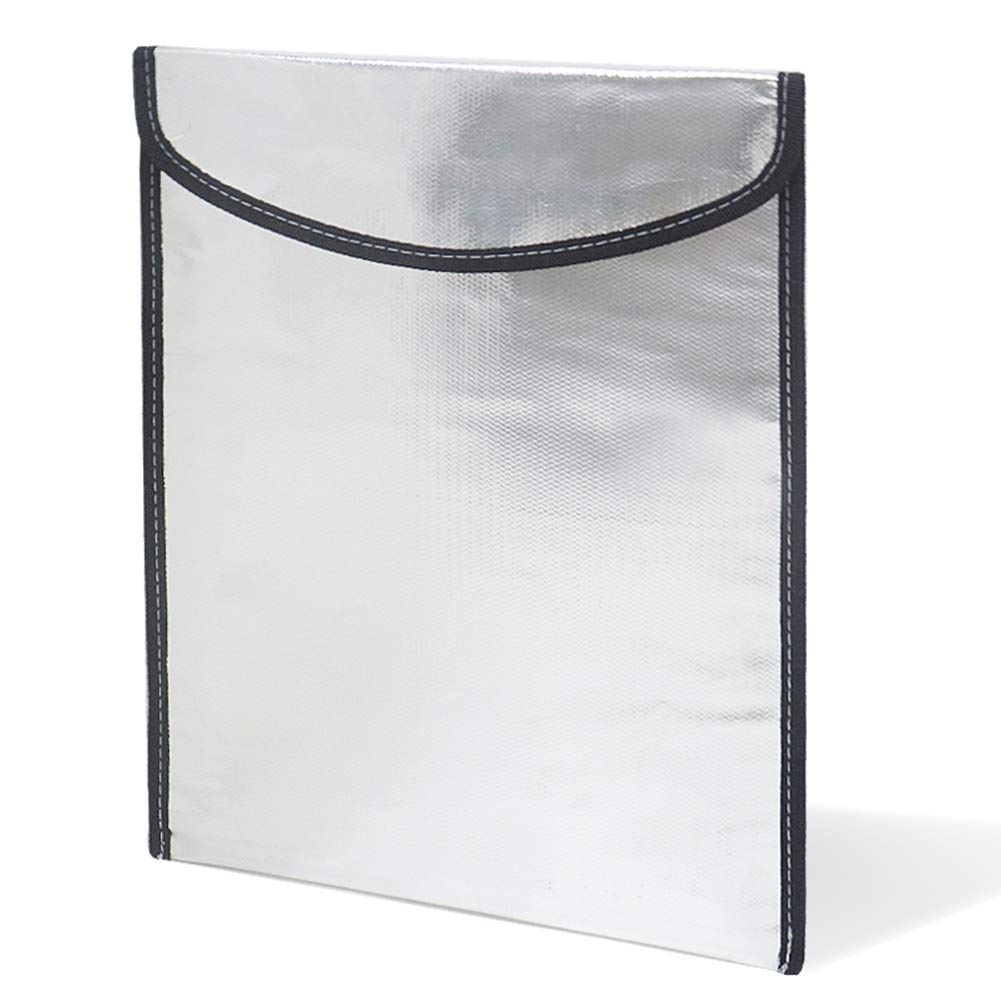 Fireproof Bag Safe Fire Resistant Protective Silver Bag with Two Sided Fireproof Fiberglas Coating for Documents Passport Cash Batteries Valuable Items (33.526.2cm