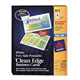 Wholesale CASE of 5 - Avery Clean Edge Two Side Inkjet Business Cards-Inkjet Business Cards, 2-Side, Matte, 1000/BX, White
