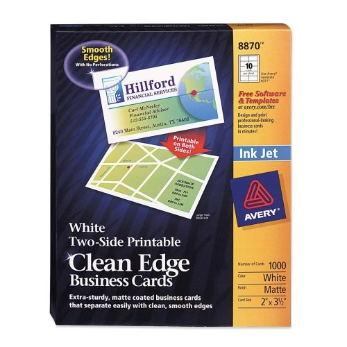 Wholesale CASE of 5 - Avery Clean Edge Two Side Inkjet Business Cards-Inkjet Business Cards, 2-Side, Matte, 1000/BX, White by AVE