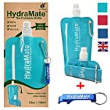 HydraMate FOLDABLE WATER BOTTLE - BPA Free. Collapsible 26oz/750ml Lightweight, Soft, Squeezable, Eco-Friendly Folding Bottle for Travel. Sports Cap, Hygienic Safety Lid. Refillable. Carabiner Clip.