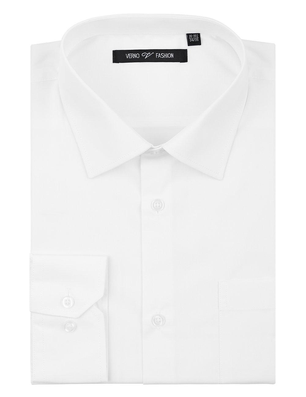 Verno Luxton MensRegular Fit Long Sleeve Dress Shirt, 19-19 1/2''Neck-34/35''Sleeve, White